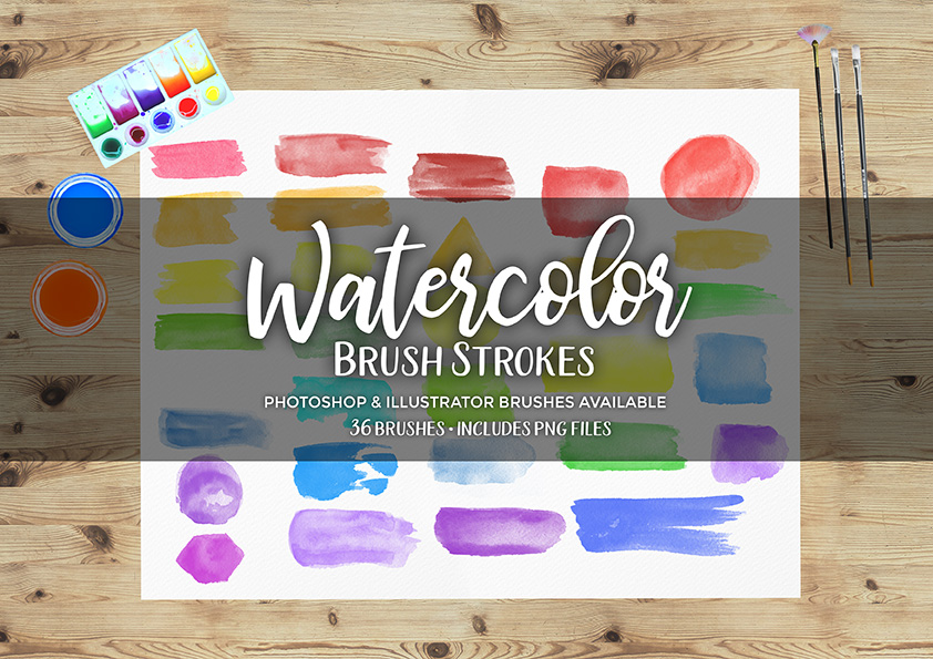 Watercolor Brush Strokes Stamp Brushes